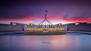 500px Photo ID: 95022321 - Long exposure sunset of Australia's Parliament House and the surrounding water feature in Canberra